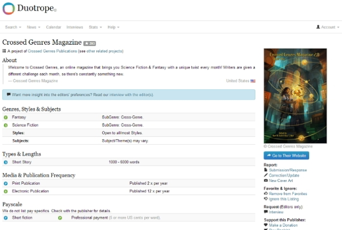 The Crossed Genres entry at Duotrope (more info off screen)